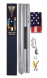 20′ Aluminum Residential Flagpole Kit with 4′ x 6′ U.S. Nylon Flag